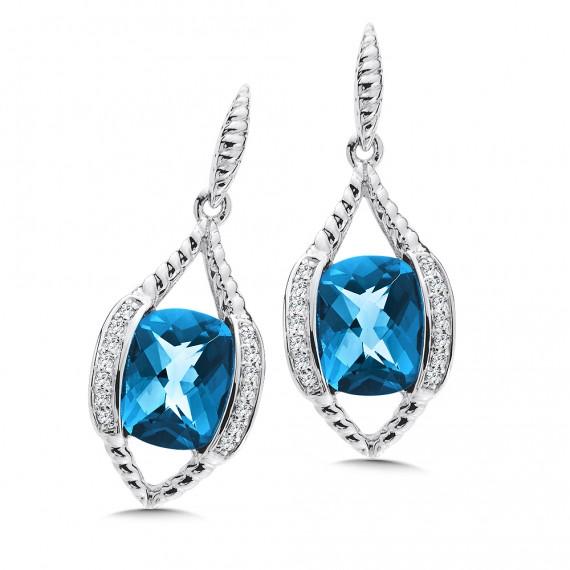 London Blue Topaz & Diamond Earrings in 14K White Gold
