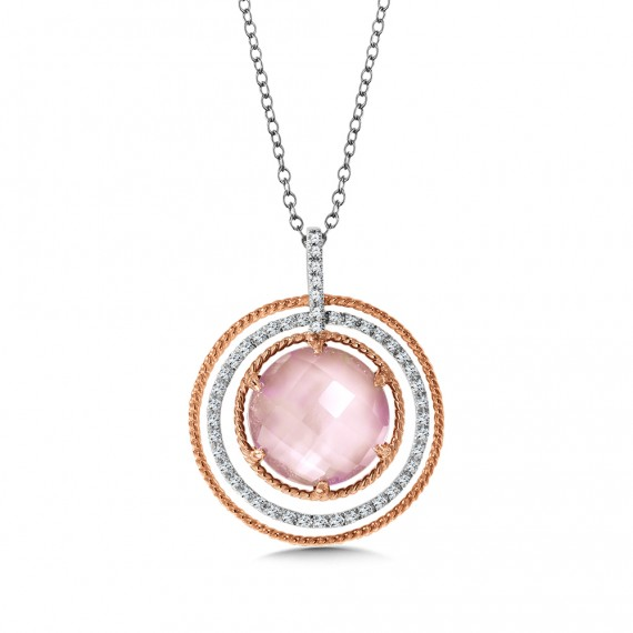 Diamond & Rose Mother of Pearl Fusion Pendant in 14K Rose Gold (0.18 ct. tw.)