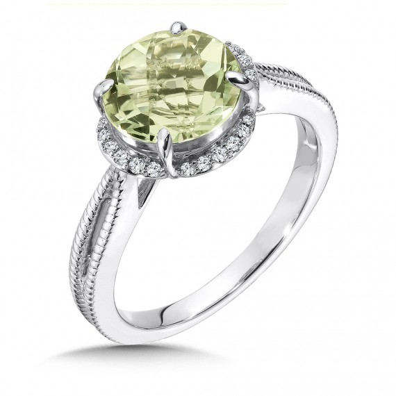 green amethyst and ring in 14k white gold