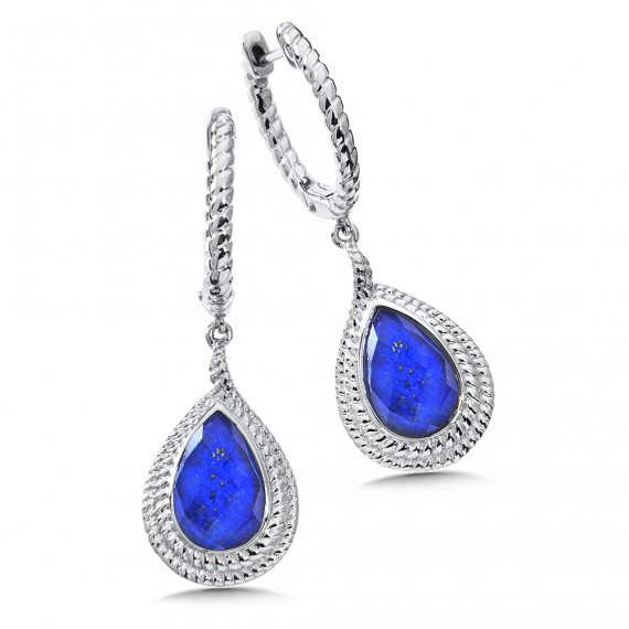 Sterling Silver Lapis Lazul Fusion Dangle Hoop Earrings