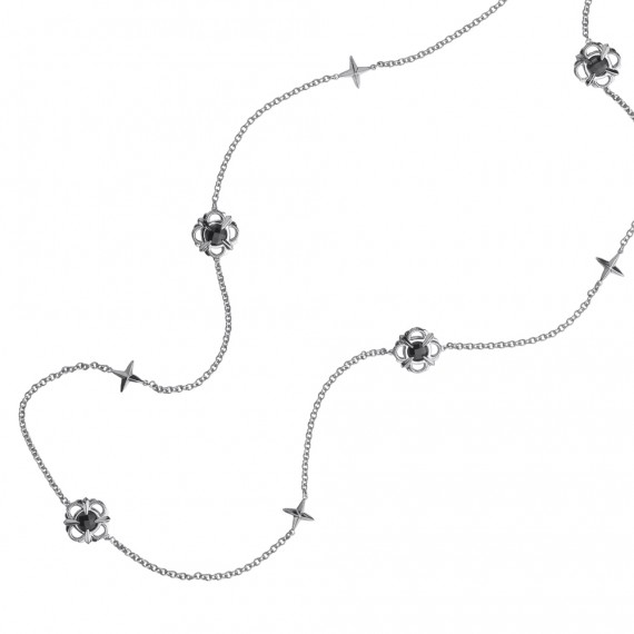 Sterling Silver Onyx Colore by the Yard Necklace