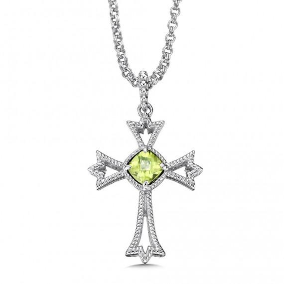 Sterling silver and peridot cross pendant