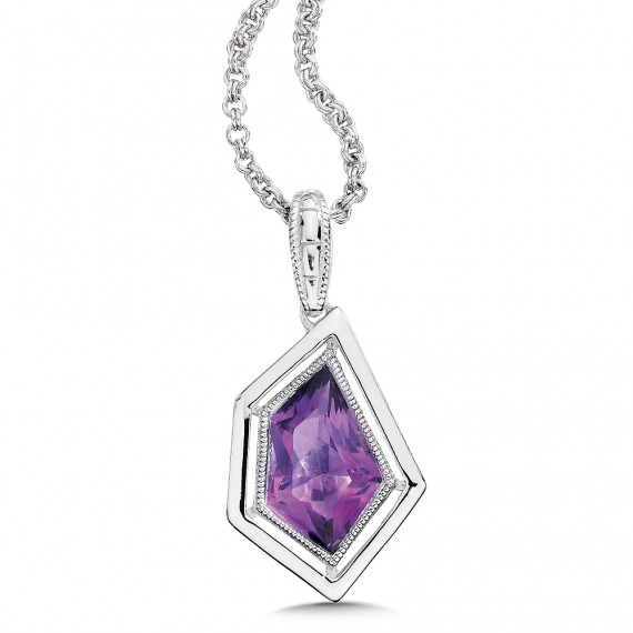 Sterling silver and purple amethyst pendant