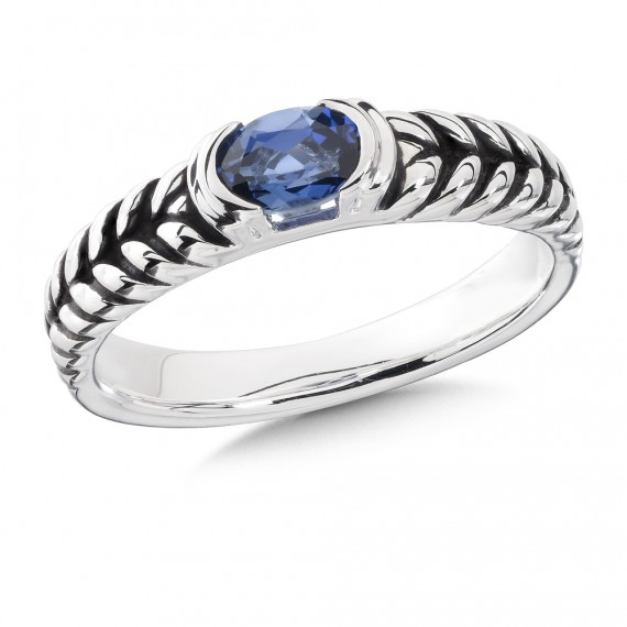 Sterling Silver and Created Sapphire Ring