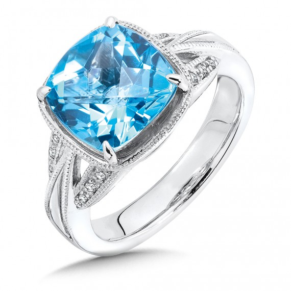 Swiss Blue Topaz and Diamond Ring