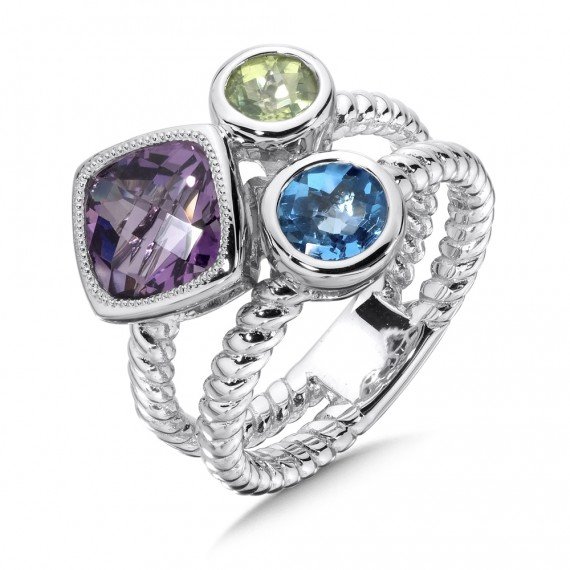 Purple Amethyst Peridot And Blue Topaz Stack Ring In