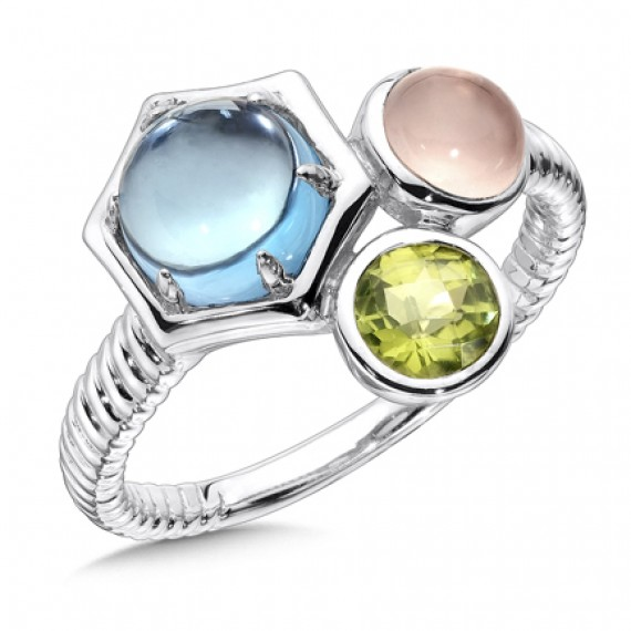 Blue Topaz, Rose Quartz, & Peridot  Ring in Sterling Silver
