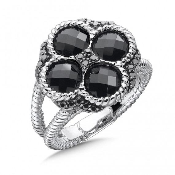 Sterling Silver Black Diamond & Onyx Split Shank Ring