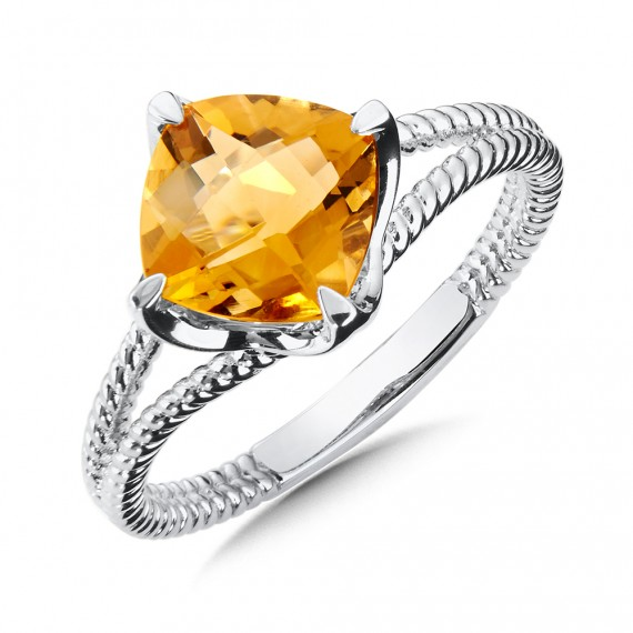 Sterling Silver Citrine Split Shank Ring