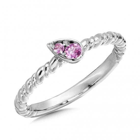 Pink Sapphire Ring in Sterling Silver