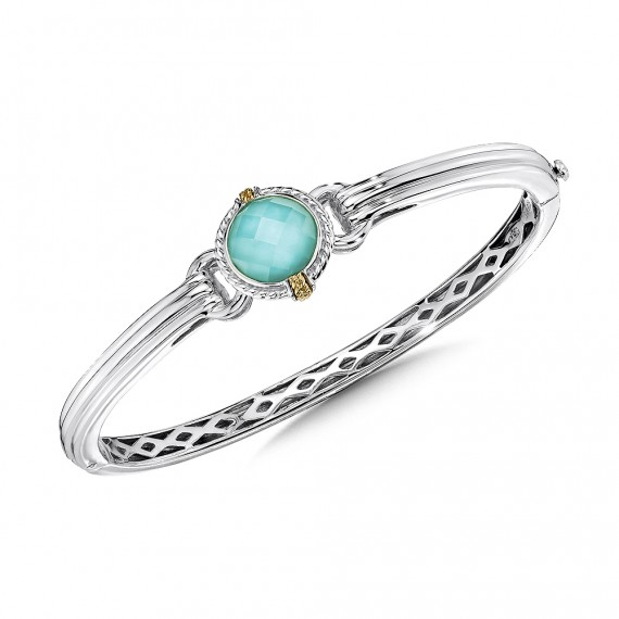 Sterling silver, 18k gold and turquoise fusion bracelet