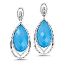 Turquoise Fusion & Diamond Earrings in 14K White Gold