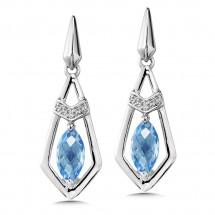 Blue Topaz & Diamond Earrings in 14K White Gold (0.04 ct. tw.)