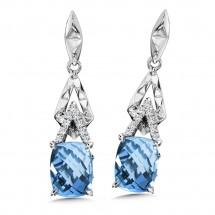 Blue Topaz & Diamond Earrings in 14K White Gold (0.07 ct. tw.)