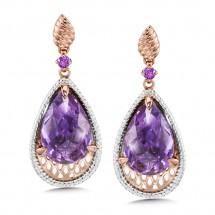 Amethyst Earrings in 14K Rose/White Gold