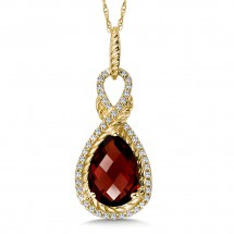 Garnet and Diamond Pendant in 14K Yellow Gold (0.05 ct. tw.)
