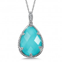 Turquoise Fusion and Diamond Pendant in 14K White Gold (0.03 ct. tw.)