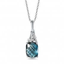 London Blue Topaz and Diamond Pendant in 14K White Gold (0.03 ct. tw.)