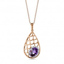 Amethyst and Diamond Pendant in 14k Rose Gold (0.08 ct. tw.)