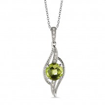 Peridot and Diamond Pendant in 14K White Gold (0.04 ct. tw.)
