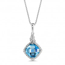 Blue Topaz and Diamond Pendant in 14K White Gold (0.14 ct. tw.)