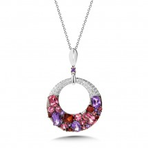 Mixed Gemstone Cluster and Diamond Circle Pendant in 14K White Gold (0.09 Dtw.)