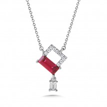 Rhodolite Garnet and Diamond Pendant in 14K White Gold (0.12 Dtw.)