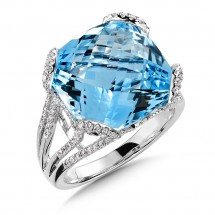 Blue Topaz & Diamond Statement Ring in 14K White Gold