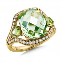Green Amethyst and Peridot Statement Ring in 14K Yellow Gold