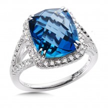 London Blue Topaz & Diamond Statement Ring in 14k White Gold