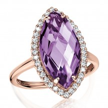 Marquise Amethyst & Diamond Statement Ring in 14K Rose Gold