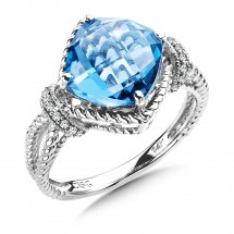 London Blue Topaz and Diamond Ring in 14K White Gold (0.07 ct. tw.)