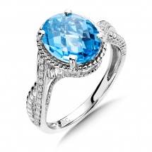 Blue Topaz and Diamond Ring in 14K White Gold (0.09 ct. tw.)