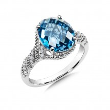 London Blue Topaz and Diamond Ring in 14K White Gold (0.09 ct. tw.)