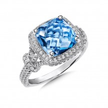 Blue Topaz and Diamond Ring in 14K White Gold (0.17 ct. tw.)