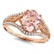 Morganite and Diamond Ring in 14K Rose Gold (0.2 ct. tw.)