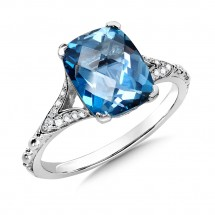 London Blue Topaz and Diamond Ring in 14K White Gold (0.11 ct. tw.)
