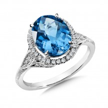 London Blue Topaz and Diamond Ring in 14K White Gold (0.19 ct. tw.)
