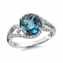 London Blue Topaz and Diamond Ring in 14K White Gold (0.15 ct. tw.)