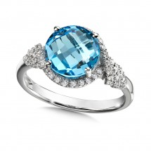 Blue Topaz and Diamond Ring in 14K White Gold (0.19 ct. tw.)