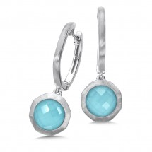 Sterling Silver White Quartz & Turquoise Fusion Dangle Hoop Earrings