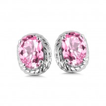 Created Pink Sapphire Earrings in Sterling Silver