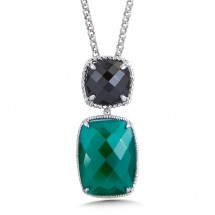 Sterling Silver Black Spinel & Green Onyx Pendant