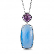 Sterling Silver Amethyst & Blue Chalcedony Pendant