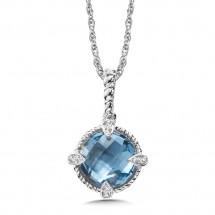 Blue Topaz & Diamond Pendant in Sterling Silver (0.05 ct. tw.)