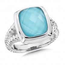 Turquoise and White Quartz Fusion Ring