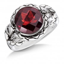 Sterling silver and red garnet ring