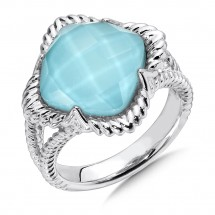 Sterling Silver White Quartz & Turquoise Fusion Split Shank Ring