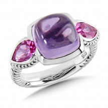 Sterling Silver Amethyst and Pink Sapphire Ring