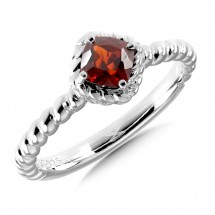 Sterling Silver Garnet Stacking Ring